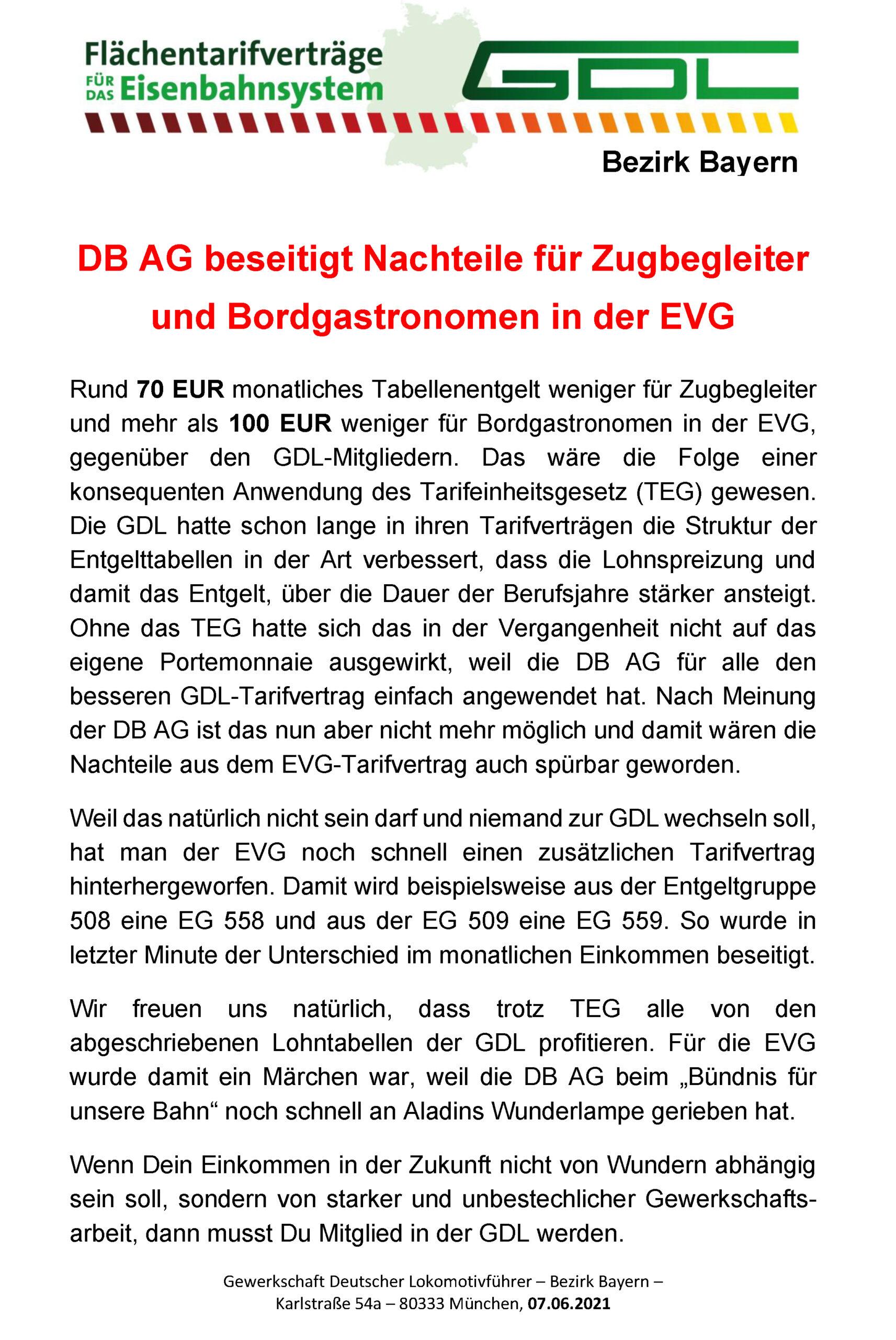DB AG beseitigt Nachteile für Zugbegleiter und Bordgastronomen in der EVG